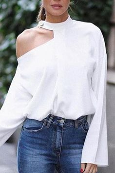Cut Out Bell Sleeve Button Detail Blouse fashion Boho,fashion Classy,fashion Outfits,fashion Trends, Look Fashion, Fashion Outfits, Womens Fashion, Fashion Tips, Fashion Design, Fashion Trends, Classy Fashion, Fashion Styles, Cheap Fashion