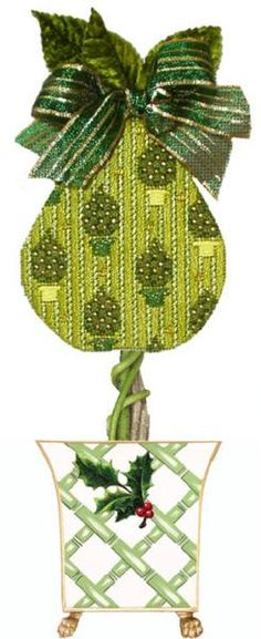 Melissa Shirley Designs | Hand Painted Needlepoint | Christmas Tree Pear with Topiary