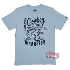 Camiseta Masculina Azul Claro Regular Fit 100% Algodão - Wrangler: Homens