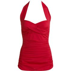 Suddenly Slim by Catalina - Women's Shirred Halter Swimsuit; I don't care that it's from walmart! I'm just glad we are seeing more modest pieces back in style. Retro Bathing Suits, Pin Up, Las Vegas, Halter One Piece Swimsuit, Red Swimsuit, Looks Vintage, Vintage Swim, Women Swimsuits, Athletic Tank Tops