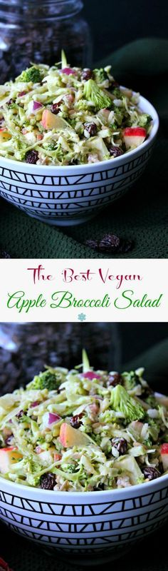 Vegan Apple Broccoli Salad has everyone's favorite vegetables and fruits. You throw everything in a bowl then pour on the slightly sweet and tangy dressing. Toss and eat!
