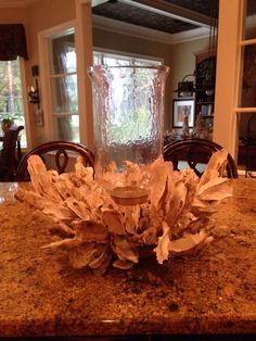 Extra Large Oyster Shell Sculpture with Flemish Texture Glass Sconce by MaryLynnReuterArt on Etsy https://www.etsy.com/listing/198577371/extra-large-oyster-shell-sculpture-with