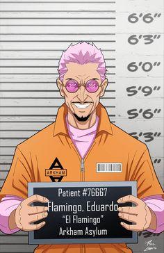 Eduardo Flamingo locked up by phil-cho on DeviantArt Gotham Villains, Comic Villains, Arkham Asylum, Dc Comics, Hq Dc, Flamingo, Mundo Comic, Batman Art, Detective Comics