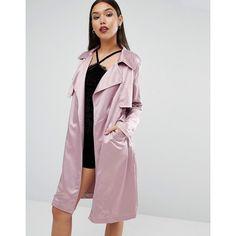 Boohoo Satin Trench Coat ❤ liked on Polyvore featuring outerwear, coats, satin trench coat, trench coat and satin coat