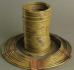 Africa | Coiled necklace and bracelet from the Nandi tribe of Kenya. | Brass and
