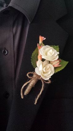 Wedding Boutonniere Boutineer White Ivory Roses by TheRusticPorch, $8.50
