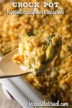 We have turned our favorite holiday recipe for Cheesy  Broccoli Cauliflower Casserole into a delicious crock pot recipe to save room in the oven this holiday season!