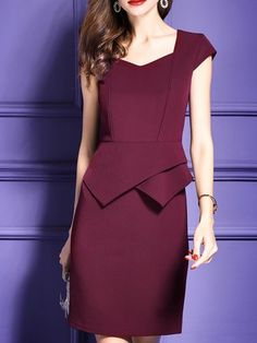 Square neck Burgundy Midi Dress Sheath Date Slit Solid Dress Work Dresses For Women, Simple Dresses, Elegant Dresses, Casual Dresses, Office Dresses, Blouse Dress, Peplum Dress, Dress Red, Dress Outfits