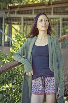 versatile eco friendly fashion // MAJAMAS // long comfy cozy cotton modal olive green sweater with thumbholes & printed shorts for everyday, yoga & yogi, after workout, PJs, sleepwear & pajamas // be the change & learn to love ecofashion & USA MADE // wear beautiful clothing that doesn't harm our beautiful planet