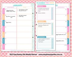 Get organised in 2016! The 2016 Easy Breezy Life Weekly Planner incorporates goal setting, an appointments diary, to-do lists and brainstorming pages into one clever format that allows you to see everything important for the week ahead at a single glance. Purchase your instant download at https://www.etsy.com/listing/253272093/a4-size-2015-2016-weekly-planner-sorbet?ref=shop_home_active_3 #2016planner #printableplanner #easybreezylife