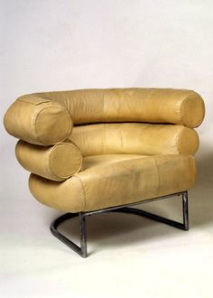 Suitably battered but lovelier for it. The Bibendum chair by Eileen Grey.