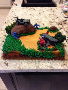 Basic Cake Decorating Ideas And Tips Halo Birthday Parties, 8th Birthday Cake, Boy Birthday, Halo Cake, Video Game Cakes, Video Games, Halo Party, Basic Cake, Minecraft Cake