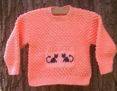 Child's hand knit orange sweater with cat motif by bebbyjumpers, £17.00