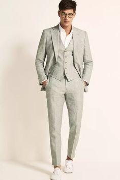 Tailored Fit Green Linen Suit Linen Wedding Suit, Wedding Guest Suits, Summer Wedding Attire, Summer Groom Suit, Summer Wedding Men, Wedding Outfits, Groom And Groomsmen Suits, Groomsmen Outfits, Linen Suits For Men