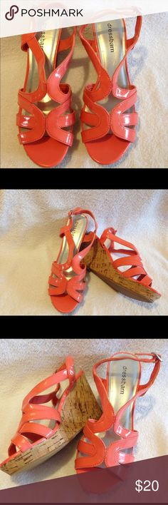 Dressbarn Women's Platform Sandals Peach Size 6.5 Dressbarn Platform Wedge Cork Sandals Size 6.5 pre owned good condition like new. Dress Barn Shoes Sandals
