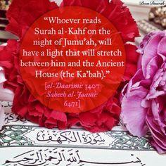 Jumu'ah tul-Mubarak Islamic Inspirational Quotes, Islamic Quotes, Jumuah Quotes, Surah Al Kahf, Eid Mubarak Wishes, Beautiful Names Of Allah, Islamic Teachings, Islamic World, Hadith