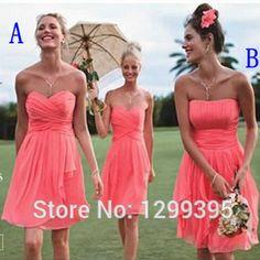 Günstige Kurze Echt Chiffon Kurz Coral Brautjungfernkleider für Hochzeit Kleid Einfache Knielang Billig Brautjungfer Kleider unter 50, Kaufe Qualität Brautjungfer Kleider direkt vom China-Lieferanten:  Wenn Sie machen benutzerdefiniertes format kleid, Sie müssen die folgenden Größen:( cm oder Zoll)1. büste = _____
