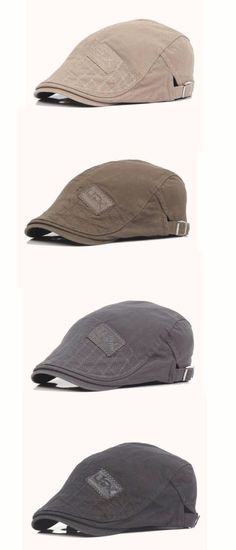 c8b6a7eb538 Men Women Patch Embroidered Cotton Beret Hat Casual Outdoor Sunshade Cabbie  Cap Adjustable Leather Hats