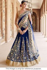 3a6fd62fc0cb2 Banglori Silk Party Wear Lehenga Choli In Navy Blue Colour Lehenga Online  Shopping