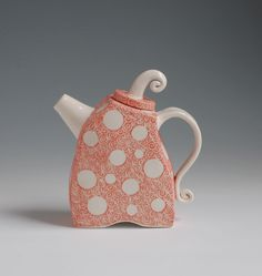 Quirky Teapot in Coral Orange With White Polka by embroideredstone