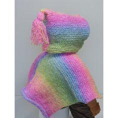b9a12b2be1e3 Taille 3 mois à 6 mois . Adorable poncho tricoté main en laine acrylique  douce . Poncho à capuche aux couleurs de l  arc en ciel   multicolores rose  ...