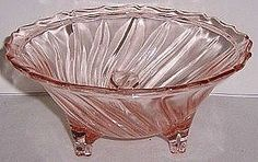 """Lovely pink """"Swirl"""" 3-Leg candy dish was made by Jeannette Glass from 1937 to 1938."""