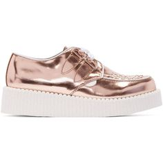 Underground Rose Gold Leather Wulfrun Creepers (65.310 HUF) ❤ liked on Polyvore featuring shoes, rose gold, white creeper shoes, creeper shoes, leather shoes, rubber sole shoes and white shoes