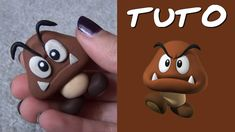 Goomba from Mario Polymer Clay Figures, Polymer Clay Sculptures, Polymer Clay Dolls, Polymer Clay Charms, Sculpture Clay, Super Mario Bros, Bolo Super Mario, Mario Bros Cake, Nerd Crafts