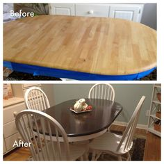 Table stained with General Finish gel stain in Java - Angel Decor Paint Furniture, Furniture Projects, Kitchen Furniture, Furniture Makeover, Home Projects, Furniture Refinishing, Stained Table, Angel Decor, Restaurant