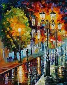 After A Rainy Night Painting - After A Rainy Night Fine Art Print - Leonid Afremov