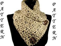 Crochet Scarf Pattern Crochet Cowl Pattern Neckwarmer Scarf Pattern Infinity Scarf Scarf With Buttons Crochet Neckwarmer #108 VillaYarnDesigns 2.50 USD October 16 2015 at 04:33PM