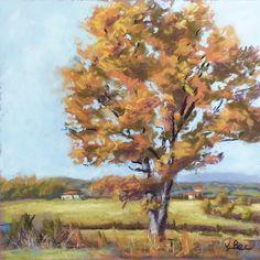 Soft pastels painting on pastelmat. Plein air painting. Pastels secs sur pastelmat. Oak in autumn. 30x30 cm. http://poussieresdepastels.blogspot.fr