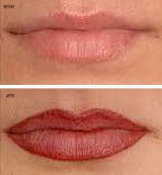 Before and after picture of lip liner tattooed on after for Handcrafted tattoo shop fort lauderdale