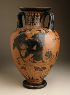 Neck-Amphora with Herakles and the Nemean Lion Group of Munich 1501 (attributed to the) Greece, Attica, circa 520-510 B.C. LACMA