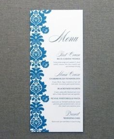 Menu Card Template - Rococo Design