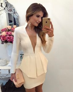 Sexy Deep V Office Blazer Women Dress 2018 Spring Summer Elegant Formal Stretch White Dress Work Bodycon Overalls Mini Dresses Blazers For Women, Suits For Women, Women Wear, Mode Outfits, Fashion Outfits, Womens Fashion, Cute Dresses, Short Dresses, Mini Dresses