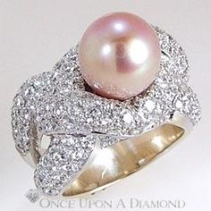 4.50ctw Pink Pearl AAA & Diamond Overlapping Cocktail Ring 18K Fine Jewelry by april