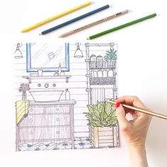 25 Best The Inspired Room Interior Design Coloring Book