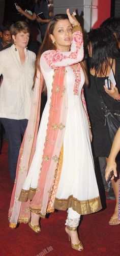 Aishwarya Rai in Ivory Anarkali Suit