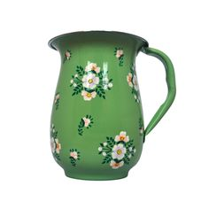 Hand Painted Enamelware Sage Green with White Posy pattern Jug