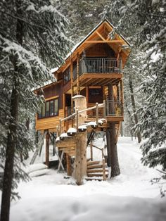 Set on seven acres of its own, this treehouse, available on Homeaway, is minutes from skiing at Montana's Whitefish Mountain Ski Resort. In the summer, golfing, fishing, whitewater rafting, hiking, biking, and horseback riding will be on the agenda. A true tree house, the home contains two living trees that grow through the interior. From $300 per night