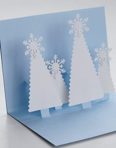 from Country Living snowflake crafts . pop-up format with easy to make trees in white . all pop up with smaller ones closer to the back . Pop Up Christmas Cards, Christmas Card Crafts, Pop Up Cards, Xmas Cards, Cute Cards, Handmade Christmas, Holiday Cards, Christmas Trees, 3d Cards