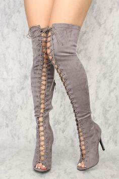 Buy Sexy Grey Lace Up Open Toe Thigh High Heels Faux Suede with cheap price and high quality Boots s Grey Knee High Boots, Thigh High Boots Heels, Heeled Boots, Gladiator Boots, Knee Boots, Cheap Knee High Boots, Women's Shoes, Open Toe Boots, Sexy Boots
