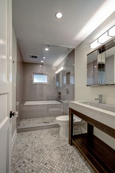 "Modern Full Bathroom with Ceramic tile flooring, tiled wall showerbath, penny tile floors, Eko.us.com ""trough"" counter sink"