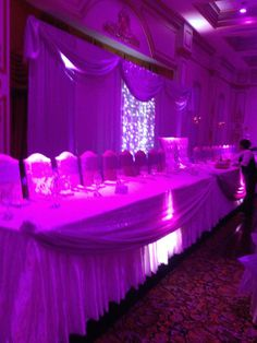 Lavender and white with fairy lights and crystal curtains and uplifting at The Venetian in Woodbridge