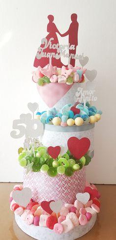 Bodas de oro. #tartaaniversariobodas #tartabodasdeoro #anniversarywedding #anniversarycake #sweetcake #tartachuchesaniversariobodas Adult Birthday Cakes, Candy Cakes, Best Candy, Candy Bouquet, Candyland, Birthdays, Sweets, Hampers, Marshmallows