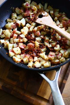 Warm German Potato Salad with Crispy Bacon - makes a great breakfast hash hot off the skillet