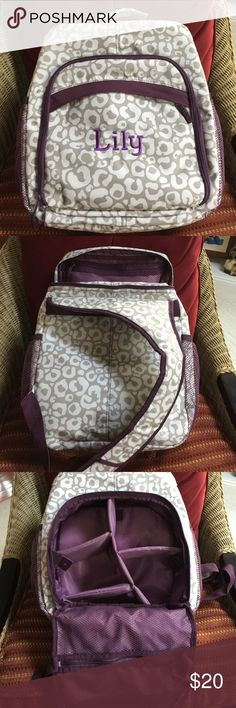 Thirty One Backpack 🎒 Large monogrammed backpack by Thirty One!  Perfect condition!  Removable organizer, two side mesh pockets, zipper top entry and back zipper entry!  Great for school, or traveling!  Hoping you have a Lily that will enjoy it!  Taupe, white and purple. Bags Backpacks