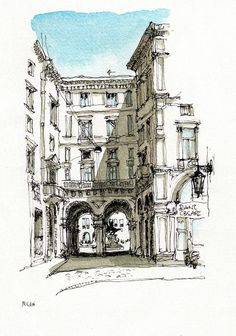 Графика y pregnancy symptoms - Pregnancy Watercolor Architecture, Architecture Drawings, Classical Architecture, Sketch Painting, Watercolor Sketch, Art Sketches, Art Drawings, Illustration Art, Illustrations