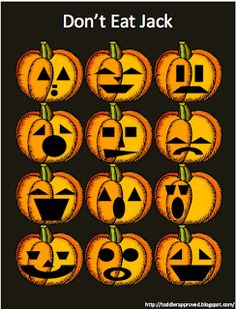 Halloween Activity to Do - Don't Eat Jack, like don't eat Pete. Only with jack o lanterns